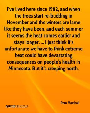 Pam Marshall  - I've lived here since 1982, and when the trees start re-budding in November and the winters are lame like they have been, and each summer it seems the heat comes earlier and stays longer. ... I just think it's unfortunate we have to think extreme heat could have devastating consequences on people's health in Minnesota. But it's creeping north.