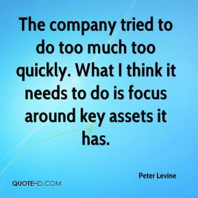 The company tried to do too much too quickly. What I think it needs to do is focus around key assets it has.