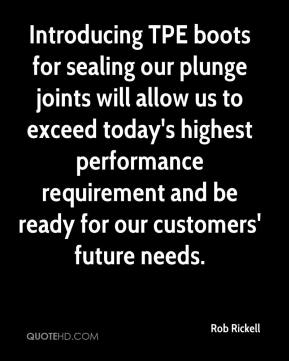 Rob Rickell  - Introducing TPE boots for sealing our plunge joints will allow us to exceed today's highest performance requirement and be ready for our customers' future needs.