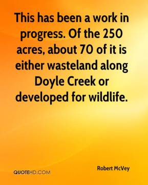 Robert McVey  - This has been a work in progress. Of the 250 acres, about 70 of it is either wasteland along Doyle Creek or developed for wildlife.