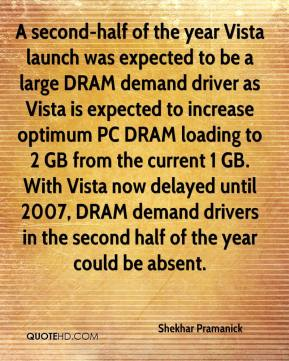 Shekhar Pramanick  - A second-half of the year Vista launch was expected to be a large DRAM demand driver as Vista is expected to increase optimum PC DRAM loading to 2 GB from the current 1 GB. With Vista now delayed until 2007, DRAM demand drivers in the second half of the year could be absent.