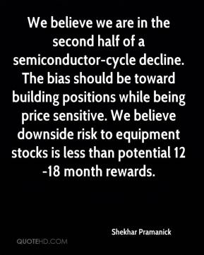 Shekhar Pramanick  - We believe we are in the second half of a semiconductor-cycle decline. The bias should be toward building positions while being price sensitive. We believe downside risk to equipment stocks is less than potential 12-18 month rewards.