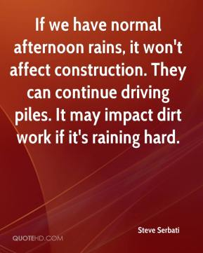 Steve Serbati  - If we have normal afternoon rains, it won't affect construction. They can continue driving piles. It may impact dirt work if it's raining hard.