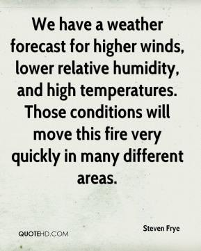 Steven Frye  - We have a weather forecast for higher winds, lower relative humidity, and high temperatures. Those conditions will move this fire very quickly in many different areas.
