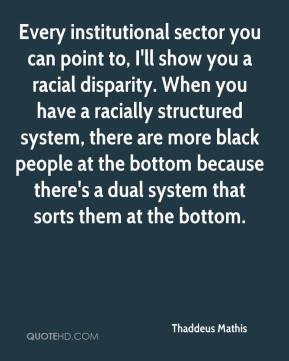Thaddeus Mathis  - Every institutional sector you can point to, I'll show you a racial disparity. When you have a racially structured system, there are more black people at the bottom because there's a dual system that sorts them at the bottom.