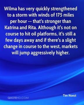 Tim Noest  - Wilma has very quickly strengthened to a storm with winds of 175 miles per hour -- that's stronger than Katrina and Rita. Although it's not on course to hit oil platforms, it's still a few days away and if there's a slight change in course to the west, markets will jump aggressively higher.