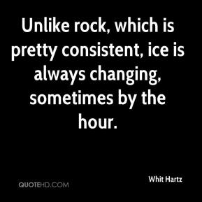 Whit Hartz  - Unlike rock, which is pretty consistent, ice is always changing, sometimes by the hour.