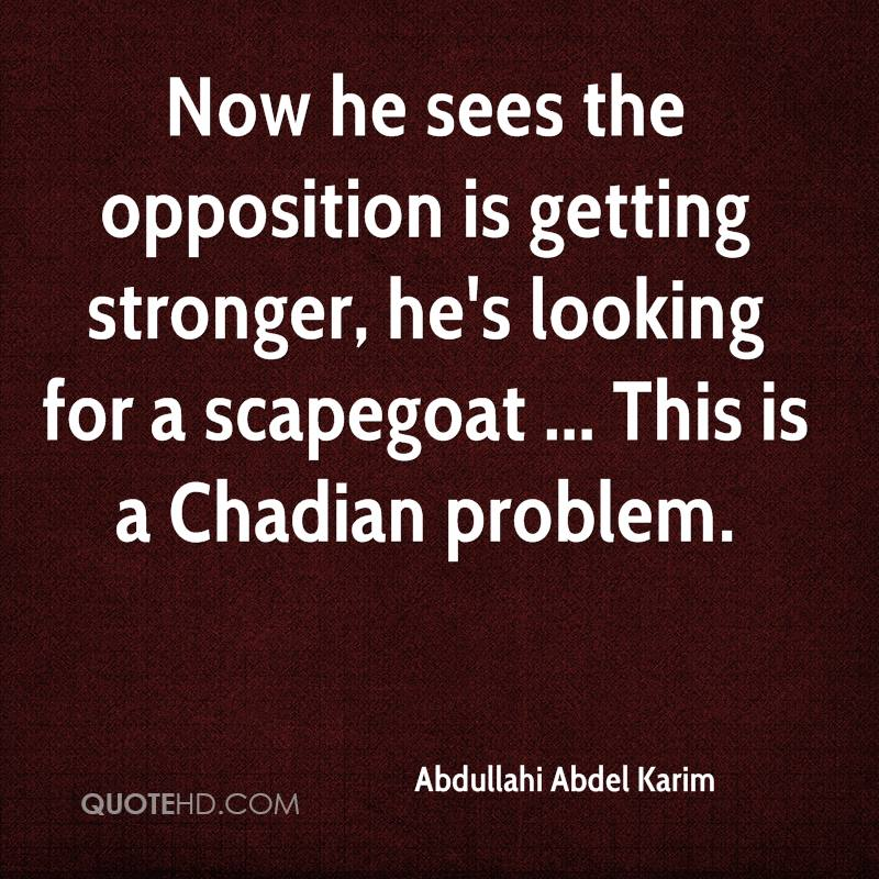 Now he sees the opposition is getting stronger, he's looking for a scapegoat ... This is a Chadian problem.