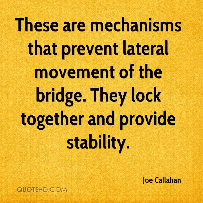 These are mechanisms that prevent lateral movement of the bridge. They lock together and provide stability.
