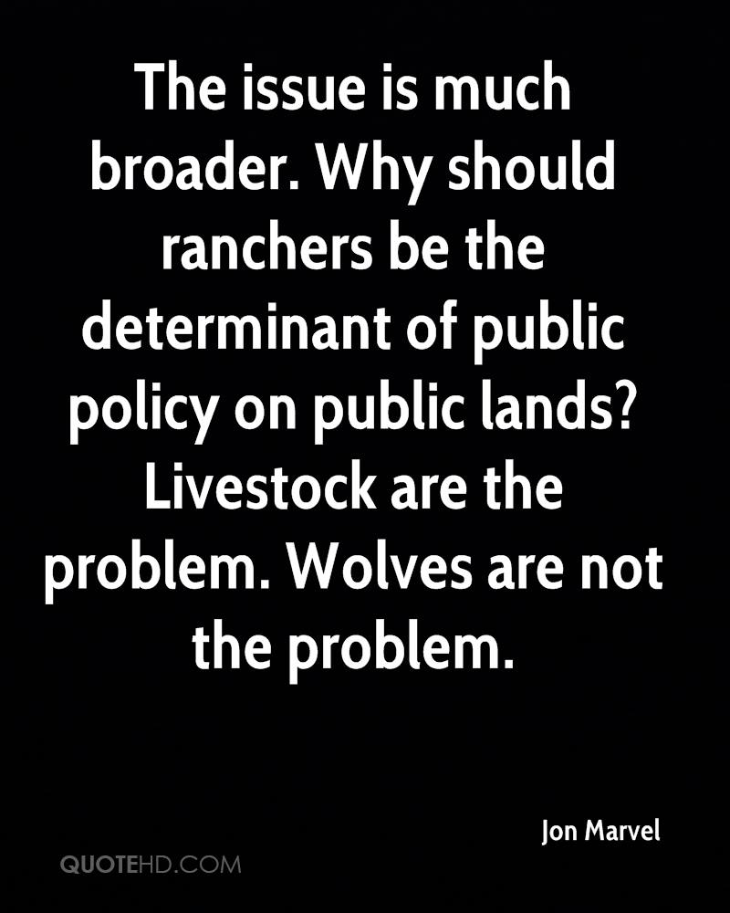 The issue is much broader. Why should ranchers be the determinant of public policy on public lands? Livestock are the problem. Wolves are not the problem.
