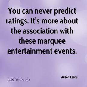 Alison Lewis - You can never predict ratings. It's more about the association with these marquee entertainment events.