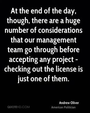 Andrew Oliver - At the end of the day, though, there are a huge number of considerations that our management team go through before accepting any project - checking out the license is just one of them.