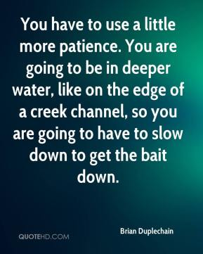 Brian Duplechain - You have to use a little more patience. You are going to be in deeper water, like on the edge of a creek channel, so you are going to have to slow down to get the bait down.