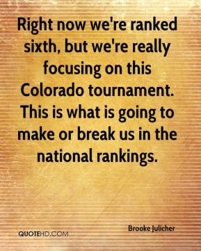 Brooke Julicher - Right now we're ranked sixth, but we're really focusing on this Colorado tournament. This is what is going to make or break us in the national rankings.