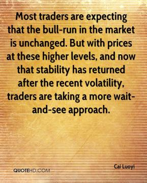 Most traders are expecting that the bull-run in the market is unchanged. But with prices at these higher levels, and now that stability has returned after the recent volatility, traders are taking a more wait-and-see approach.