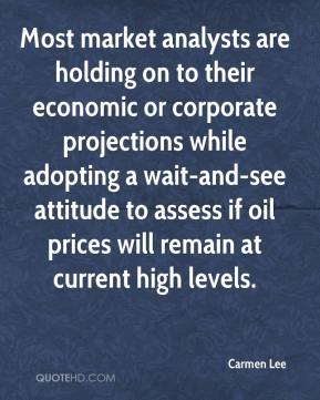Carmen Lee - Most market analysts are holding on to their economic or corporate projections while adopting a wait-and-see attitude to assess if oil prices will remain at current high levels.