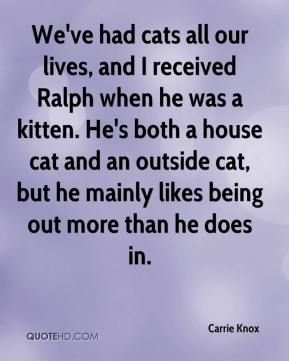Carrie Knox - We've had cats all our lives, and I received Ralph when he was a kitten. He's both a house cat and an outside cat, but he mainly likes being out more than he does in.