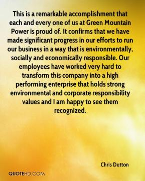 Chris Dutton - This is a remarkable accomplishment that each and every one of us at Green Mountain Power is proud of. It confirms that we have made significant progress in our efforts to run our business in a way that is environmentally, socially and economically responsible. Our employees have worked very hard to transform this company into a high performing enterprise that holds strong environmental and corporate responsibility values and I am happy to see them recognized.