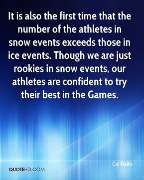 Cui Dalin - It is also the first time that the number of the athletes in snow events exceeds those in ice events. Though we are just rookies in snow events, our athletes are confident to try their best in the Games.