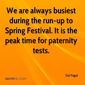 Cui Yugui - We are always busiest during the run-up to Spring Festival. It is the peak time for paternity tests.