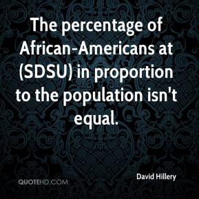 David Hillery - The percentage of African-Americans at (SDSU) in proportion to the population isn't equal.