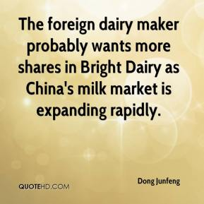 The foreign dairy maker probably wants more shares in Bright Dairy as China's milk market is expanding rapidly.