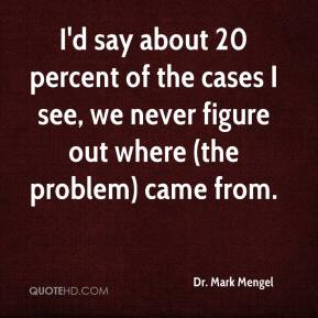 Dr. Mark Mengel - I'd say about 20 percent of the cases I see, we never figure out where (the problem) came from.