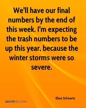 Eben Schwartz - We'll have our final numbers by the end of this week. I'm expecting the trash numbers to be up this year, because the winter storms were so severe.