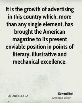 It is the growth of advertising in this country which, more than any single element, has brought the American magazine to its present enviable position in points of literary, illustrative and mechanical excellence.