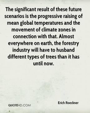 Erich Roeckner - The significant result of these future scenarios is the progressive raising of mean global temperatures and the movement of climate zones in connection with that. Almost everywhere on earth, the forestry industry will have to husband different types of trees than it has until now.