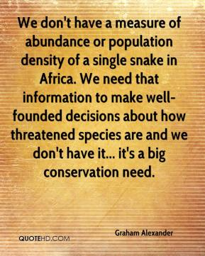 Graham Alexander - We don't have a measure of abundance or population density of a single snake in Africa. We need that information to make well-founded decisions about how threatened species are and we don't have it... it's a big conservation need.
