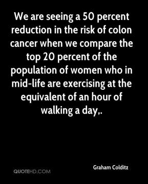 Graham Colditz - We are seeing a 50 percent reduction in the risk of colon cancer when we compare the top 20 percent of the population of women who in mid-life are exercising at the equivalent of an hour of walking a day.