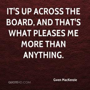 It's up across the board, and that's what pleases me more than anything.