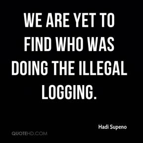 We are yet to find who was doing the illegal logging.