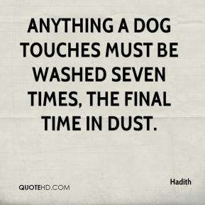 Hadith - Anything a dog touches must be washed seven times, the final time in dust.