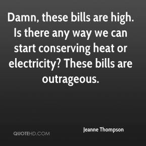 Jeanne Thompson  - Damn, these bills are high. Is there any way we can start conserving heat or electricity? These bills are outrageous.