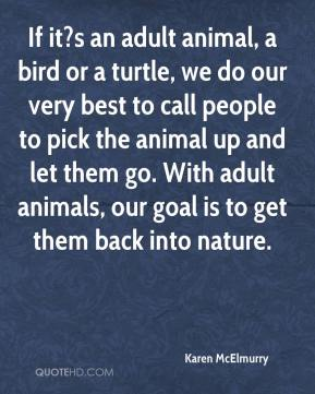 Karen McElmurry  - If it?s an adult animal, a bird or a turtle, we do our very best to call people to pick the animal up and let them go. With adult animals, our goal is to get them back into nature.