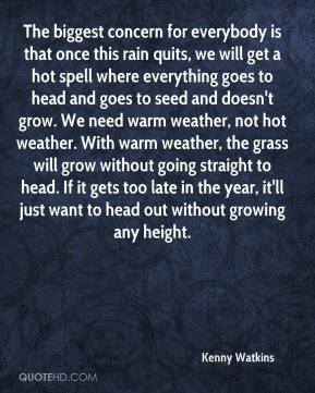 Kenny Watkins  - The biggest concern for everybody is that once this rain quits, we will get a hot spell where everything goes to head and goes to seed and doesn't grow. We need warm weather, not hot weather. With warm weather, the grass will grow without going straight to head. If it gets too late in the year, it'll just want to head out without growing any height.