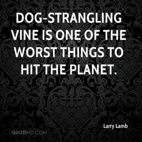 Larry Lamb  - Dog-strangling vine is one of the worst things to hit the planet.