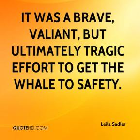 Leila Sadler  - It was a brave, valiant, but ultimately tragic effort to get the whale to safety.