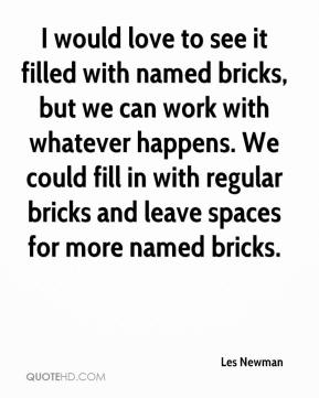 Les Newman  - I would love to see it filled with named bricks, but we can work with whatever happens. We could fill in with regular bricks and leave spaces for more named bricks.