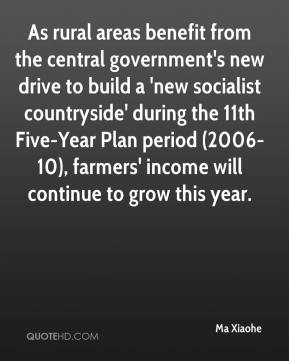 Ma Xiaohe  - As rural areas benefit from the central government's new drive to build a 'new socialist countryside' during the 11th Five-Year Plan period (2006-10), farmers' income will continue to grow this year.