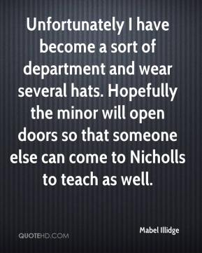 Mabel Illidge  - Unfortunately I have become a sort of department and wear several hats. Hopefully the minor will open doors so that someone else can come to Nicholls to teach as well.