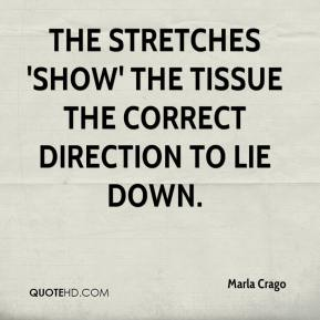 Marla Crago  - The stretches 'show' the tissue the correct direction to lie down.