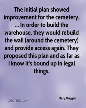 Mary Duggan  - The initial plan showed improvement for the cemetery, ... In order to build the warehouse, they would rebuild the wall (around the cemetery) and provide access again. They proposed this plan and as far as I know it's bound up in legal things.