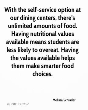 Melissa Schrader  - With the self-service option at our dining centers, there's unlimited amounts of food. Having nutritional values available means students are less likely to overeat. Having the values available helps them make smarter food choices.