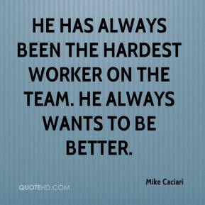 Mike Caciari  - He has always been the hardest worker on the team. He always wants to be better.