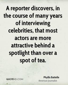 A reporter discovers, in the course of many years of interviewing celebrities, that most actors are more attractive behind a spotlight than over a spot of tea.