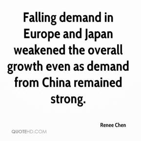 Falling demand in Europe and Japan weakened the overall growth even as demand from China remained strong.
