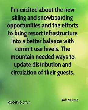 I'm excited about the new skiing and snowboarding opportunities and the efforts to bring resort infrastructure into a better balance with current use levels. The mountain needed ways to update distribution and circulation of their guests.
